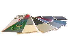 Nuancier éventail avec collage d'échantillons