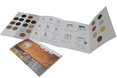 Dépliant nuancier 4 volets avec collage d'échantillons