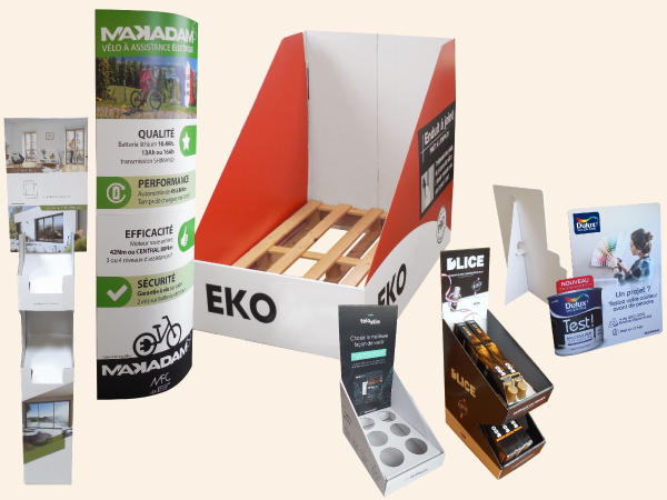PLV de sol ou comptoir, ILV et boitage packaging